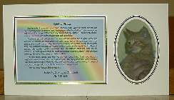 Photo Mount: White with an Oval Opening -- Background Image Paper: Rainbow on Blue Sky -- Poem: Rainbow Bridge Story --- Click for a larger image.